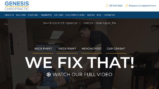Preview of Genesis Chiropractic's new responsive website.